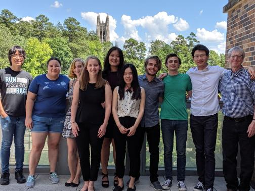 A group photo on Duke's campus
