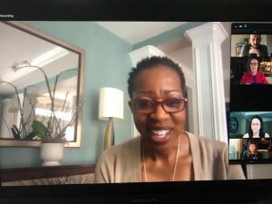 Valerie Ashby speaking on Zoom